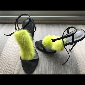 ASOS Shoes - Neon faux fur and black heel sandals